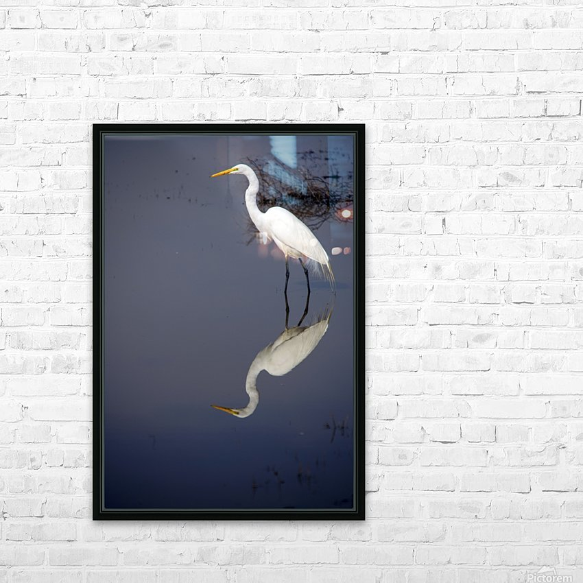White Egret Reflection HD Sublimation Metal print with Decorating Float Frame (BOX)