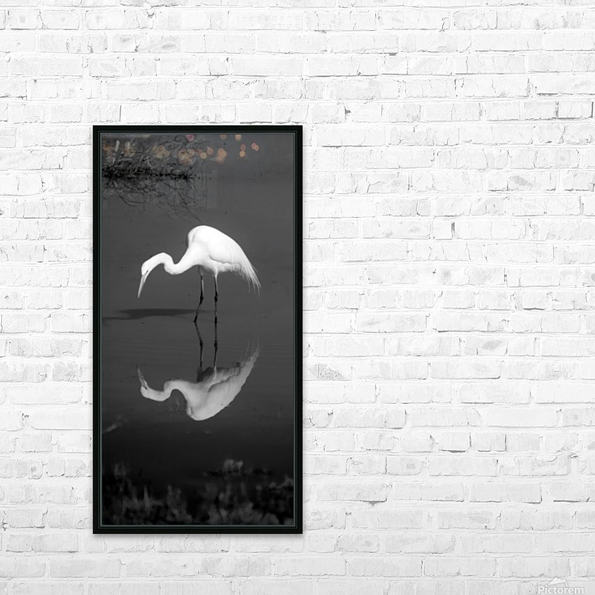 Who Are You White Egret BW HD Sublimation Metal print with Decorating Float Frame (BOX)