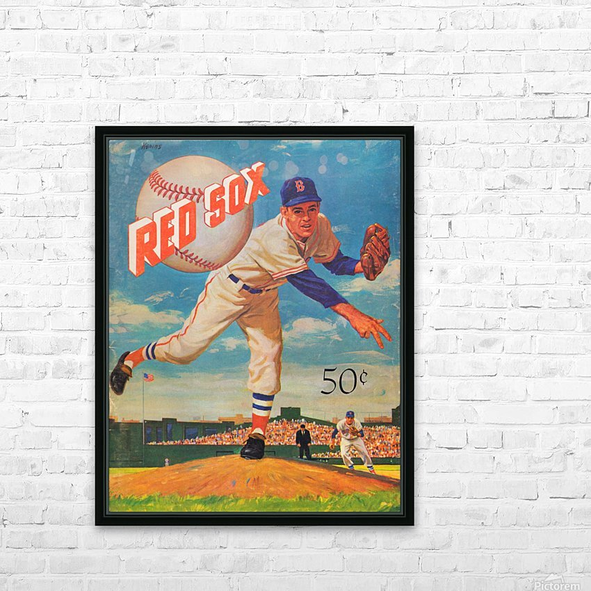 1959_Boston Red Sox_Baseball Yearbook_Poster_Vintage Baseball Art Print Reproductions HD Sublimation Metal print with Decorating Float Frame (BOX)