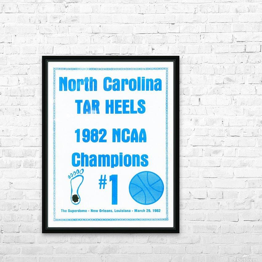 1982 North Carolina Tar Heels NCAA Champions Poster Reproduction Art HD Sublimation Metal print with Decorating Float Frame (BOX)
