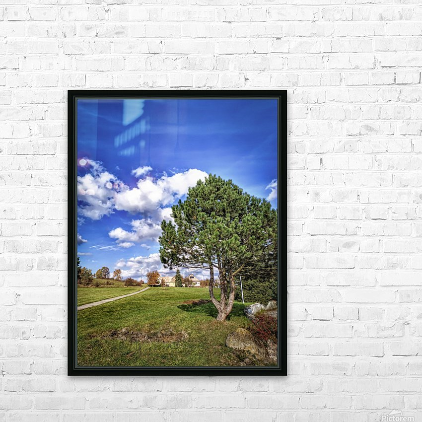 Tree and blue sky with clouds HD Sublimation Metal print with Decorating Float Frame (BOX)