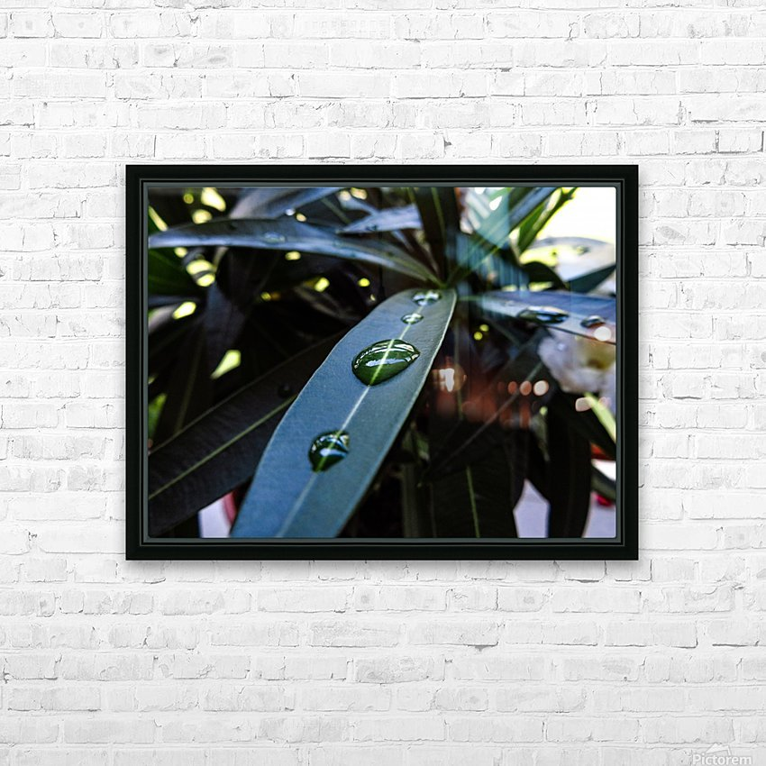 Raindrop on a green leaf HD Sublimation Metal print with Decorating Float Frame (BOX)