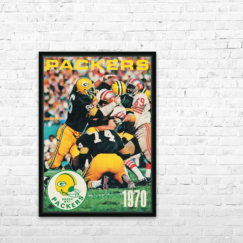 Green Bay Packers Football Poster Row One Brand Sports Art HD Sublimation Metal print with Decorating Float Frame (BOX)