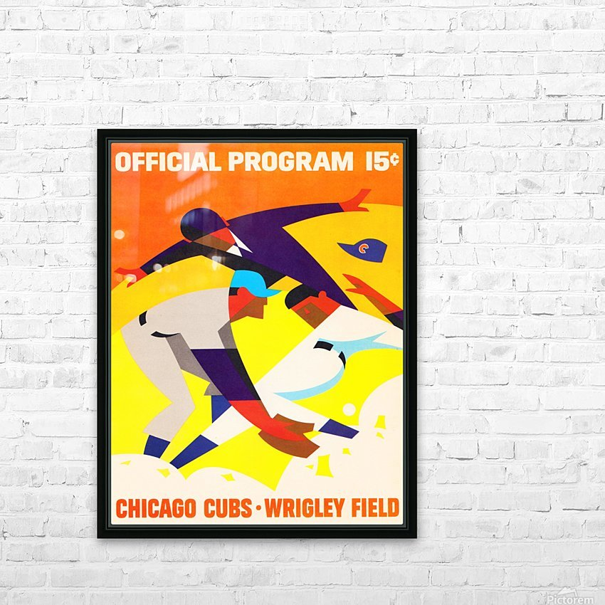 1967 Chicago Cubs Wrigley Field Program Poster_Vintage Cubs Art HD Sublimation Metal print with Decorating Float Frame (BOX)
