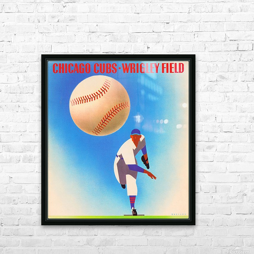 Retro Remix_Chicago Cubs Wrigley Field Art Poster_Vintage Cubs Artwork_Vintage Baseball Poster HD Sublimation Metal print with Decorating Float Frame (BOX)