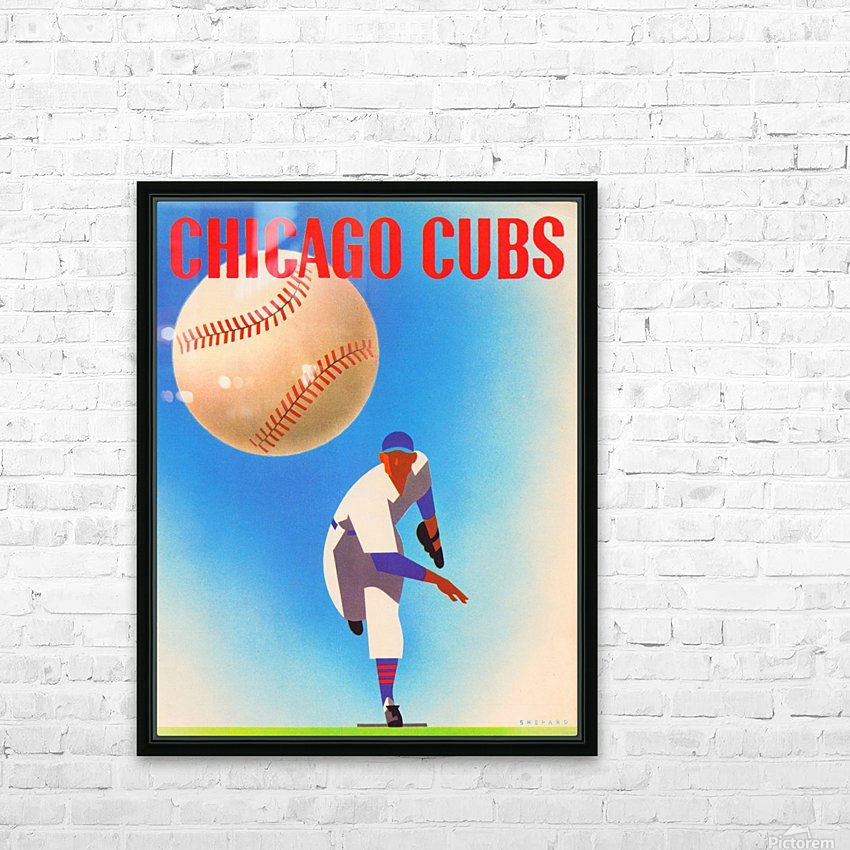 Otis Shepard Remix_Public Domain Sports Art Remixes_Chicago Cubs Poster by Row One HD Sublimation Metal print with Decorating Float Frame (BOX)