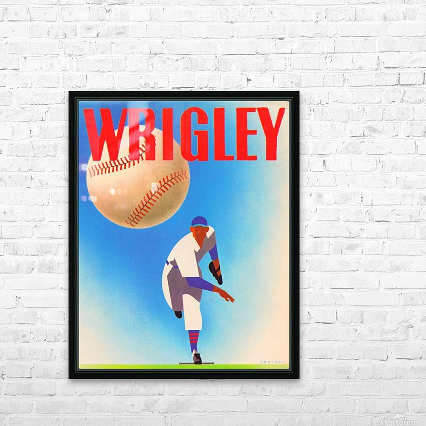 Row One Brand Sports Art Remixes_Public Domain Sports Art Remix_Chicago Cubs Wrigley Poster HD Sublimation Metal print with Decorating Float Frame (BOX)