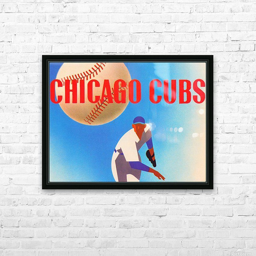 Sports Art Remixes_Public Domain Sports Art Creations_Chicago Cubs Poster (1950) HD Sublimation Metal print with Decorating Float Frame (BOX)