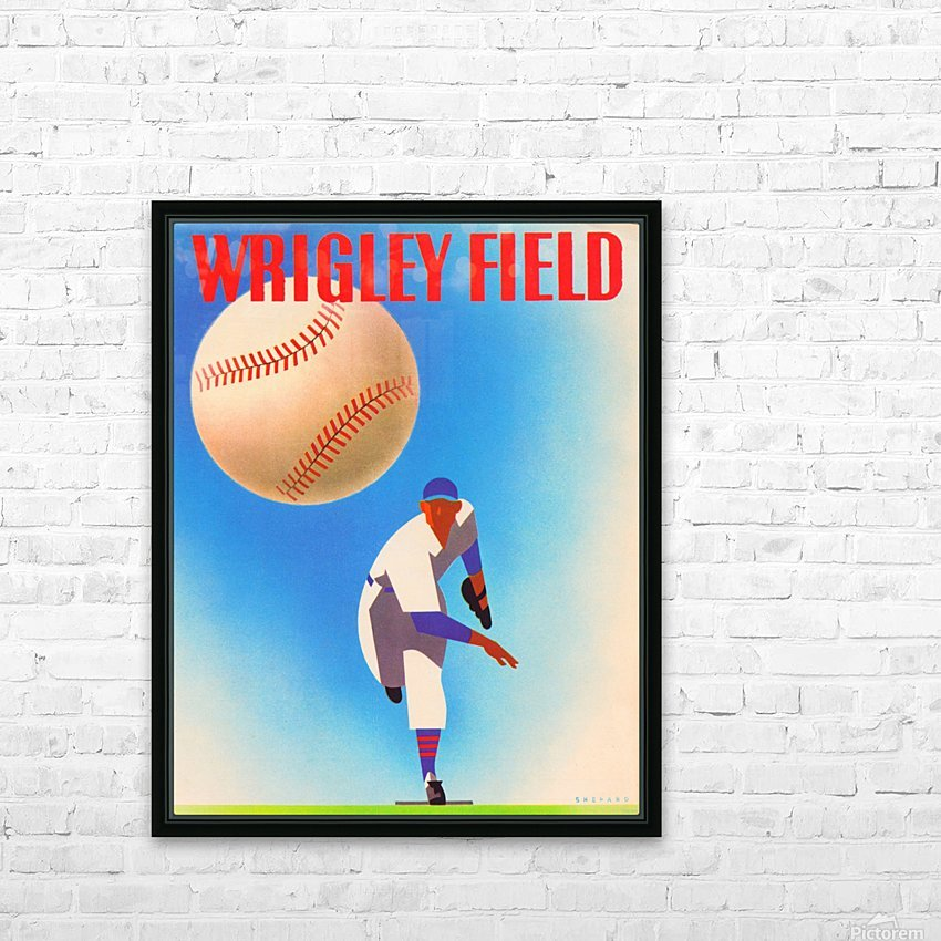 RowOneBrandWrigleyFieldArtRemixes_PublicDomainSportsArtRemixes_ChicagoCubsPoster HD Sublimation Metal print with Decorating Float Frame (BOX)