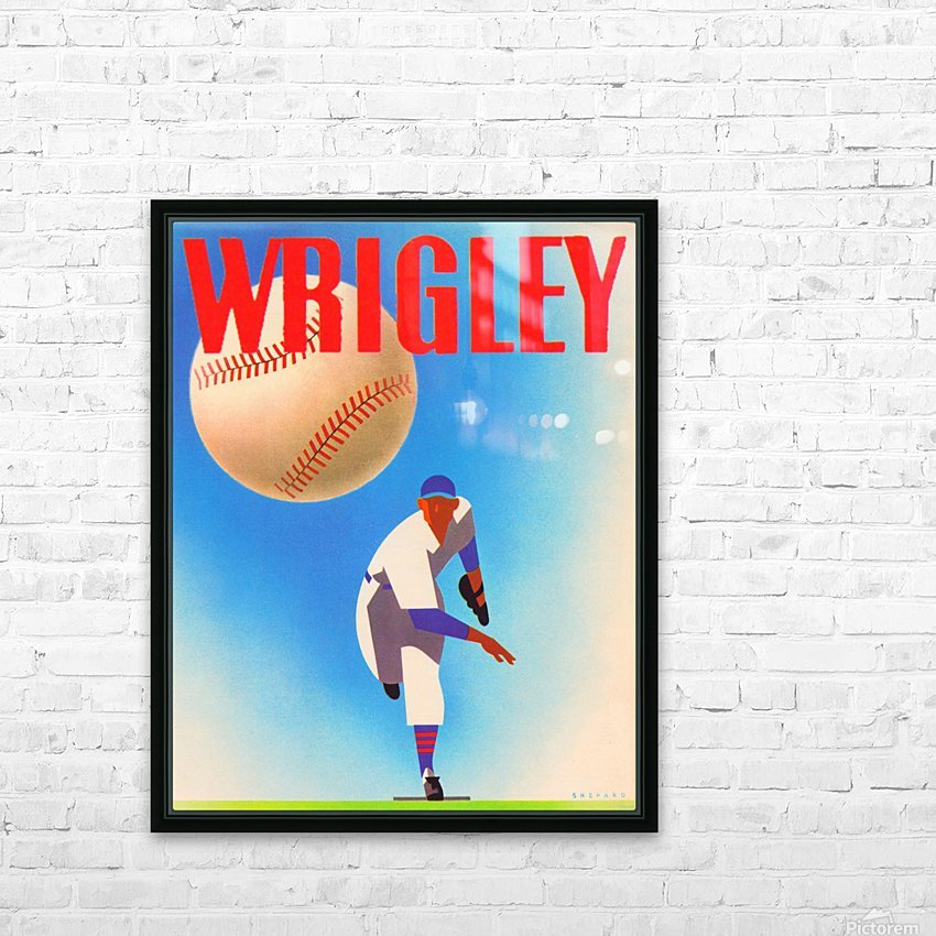 RowOneBrandSportsArtRemixes_PublicDomainSportsArtRemix_ChicagoCubsWrigleyPoster HD Sublimation Metal print with Decorating Float Frame (BOX)
