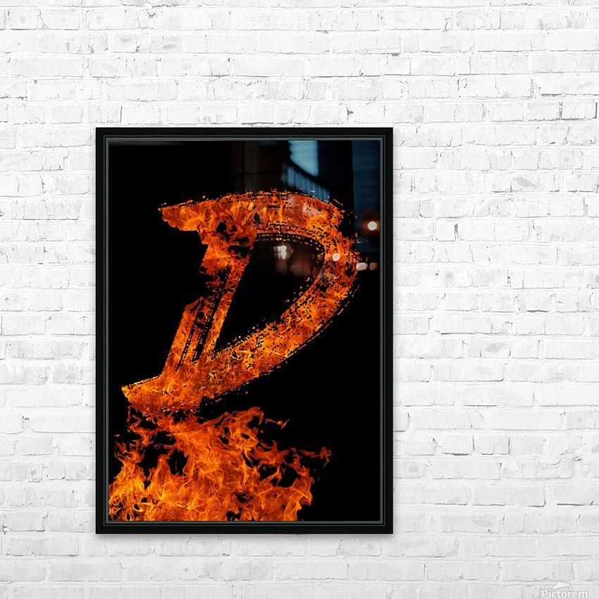 Burning on Fire Letter D HD Sublimation Metal print with Decorating Float Frame (BOX)