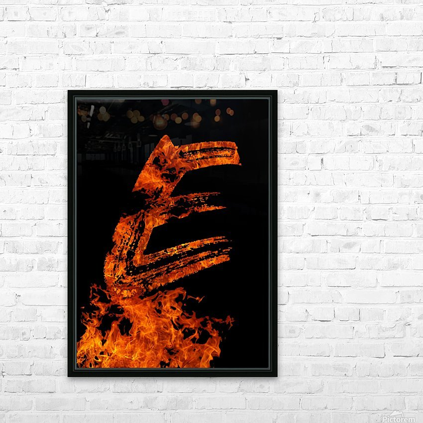 Burning on Fire Letter E HD Sublimation Metal print with Decorating Float Frame (BOX)