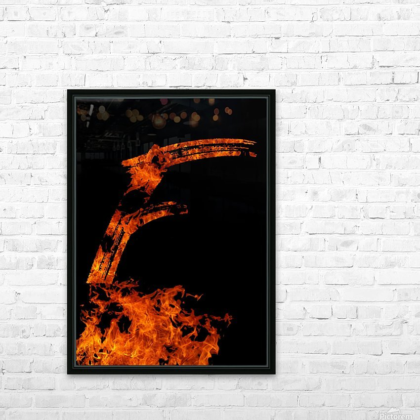 Burning on Fire Letter F HD Sublimation Metal print with Decorating Float Frame (BOX)