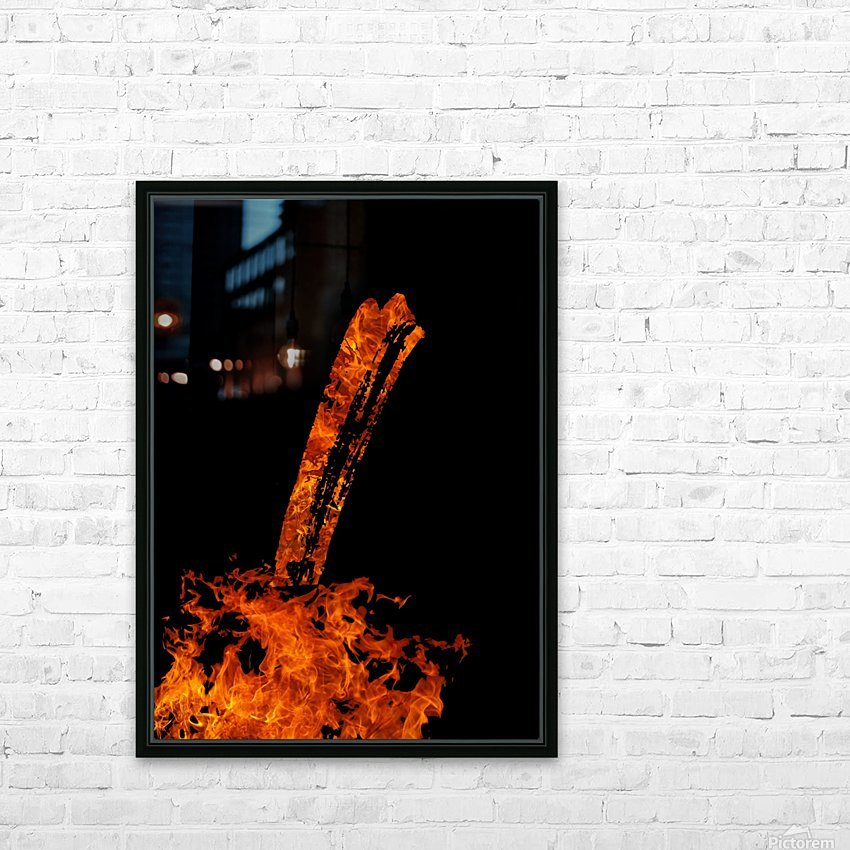 Burning on Fire Letter I HD Sublimation Metal print with Decorating Float Frame (BOX)