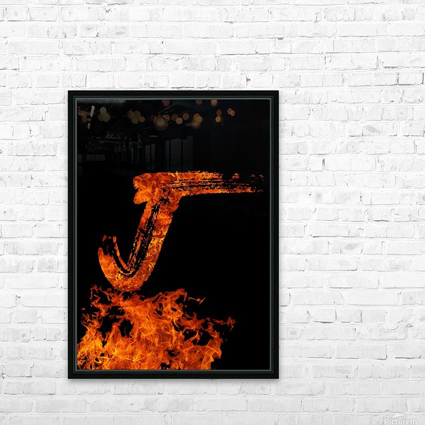 Burning on Fire Letter J HD Sublimation Metal print with Decorating Float Frame (BOX)