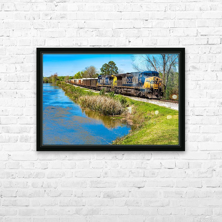 CSX Train along the Augusta Canal GA 02953 HD Sublimation Metal print with Decorating Float Frame (BOX)