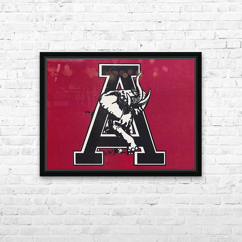 vintage alabama a elephant artwork 1982 college poster HD Sublimation Metal print with Decorating Float Frame (BOX)