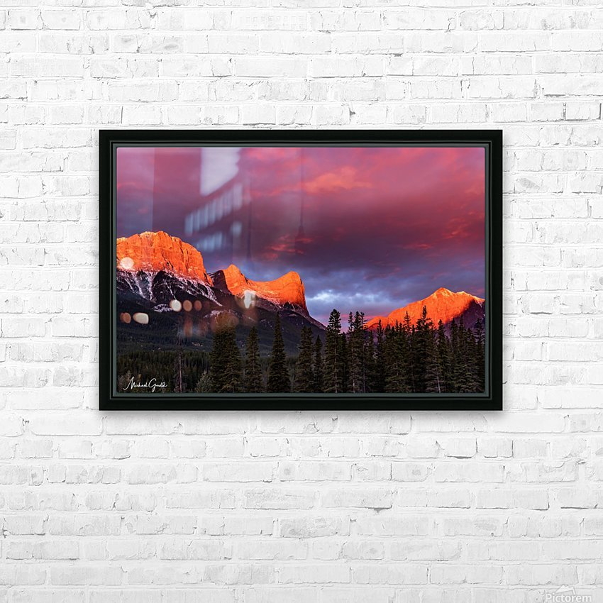 Ha Ling Mountain Range Sunrise HD Sublimation Metal print with Decorating Float Frame (BOX)