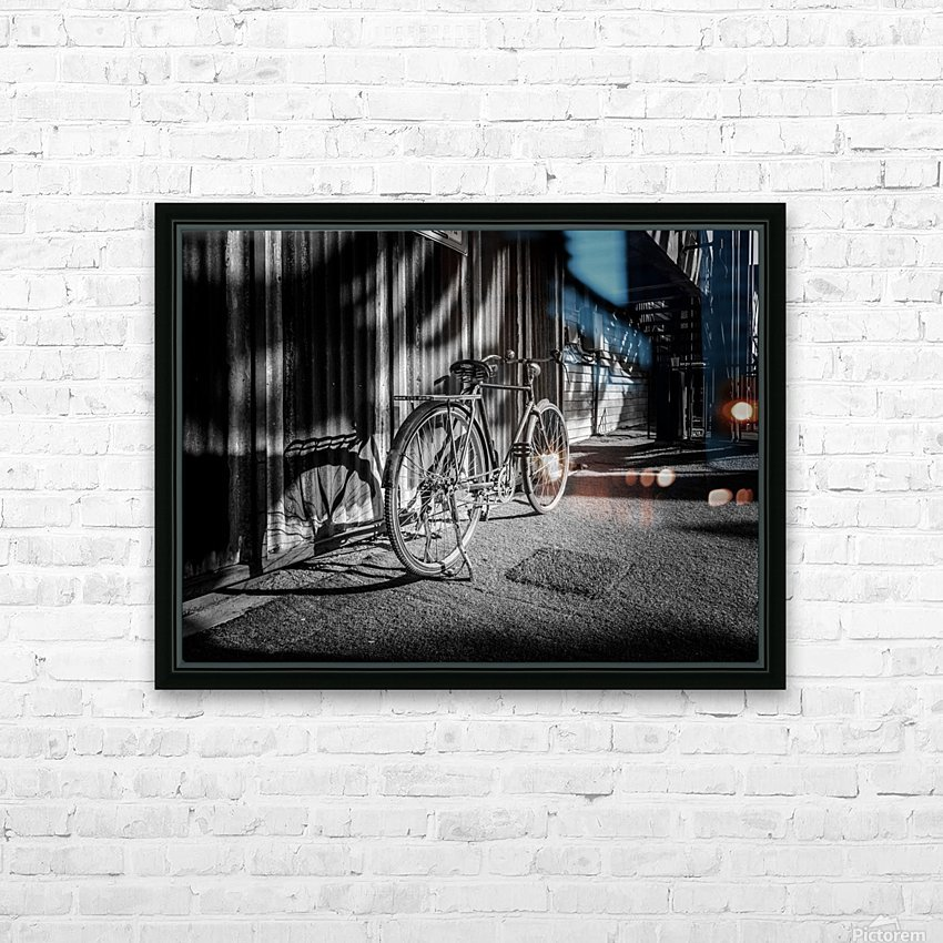 Bicycle parked against the building black and white HD Sublimation Metal print with Decorating Float Frame (BOX)