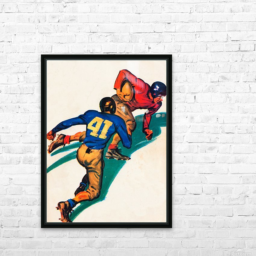 vintage football poster HD Sublimation Metal print with Decorating Float Frame (BOX)