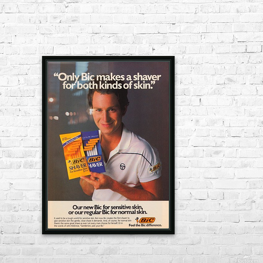 row one vintage sports ads retro bic shaver john mcenroe tennis poster HD Sublimation Metal print with Decorating Float Frame (BOX)