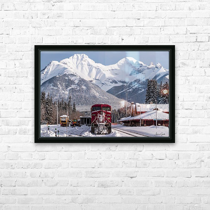 Banff Train Station HD Sublimation Metal print with Decorating Float Frame (BOX)