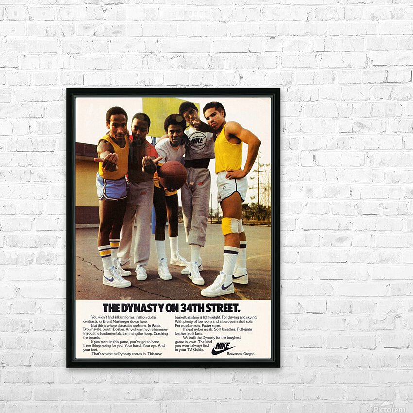 1981 vintage nike shoe ads dynasty on 34th street retro basketball poster HD Sublimation Metal print with Decorating Float Frame (BOX)