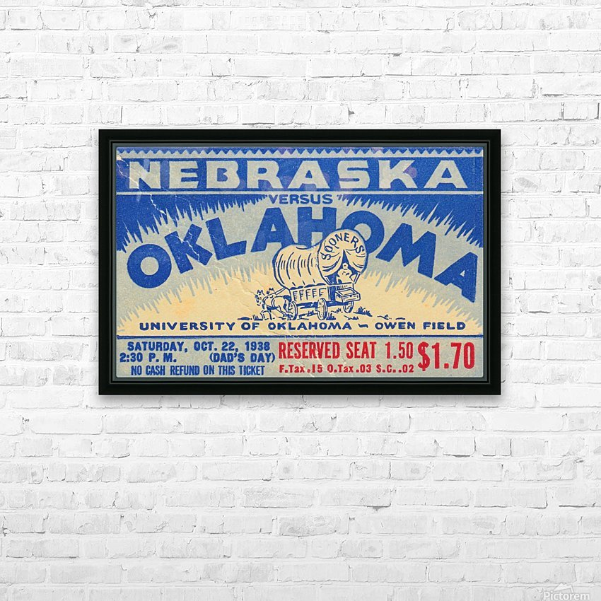 oklahoma football metal sign sooners ticket stub collection row 1 row one vintage sports art brand HD Sublimation Metal print with Decorating Float Frame (BOX)