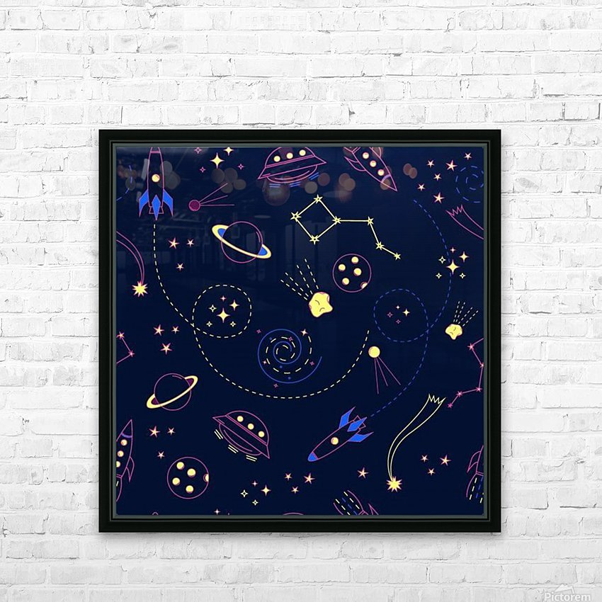 Cartoon space seamless pattern vectors HD Sublimation Metal print with Decorating Float Frame (BOX)
