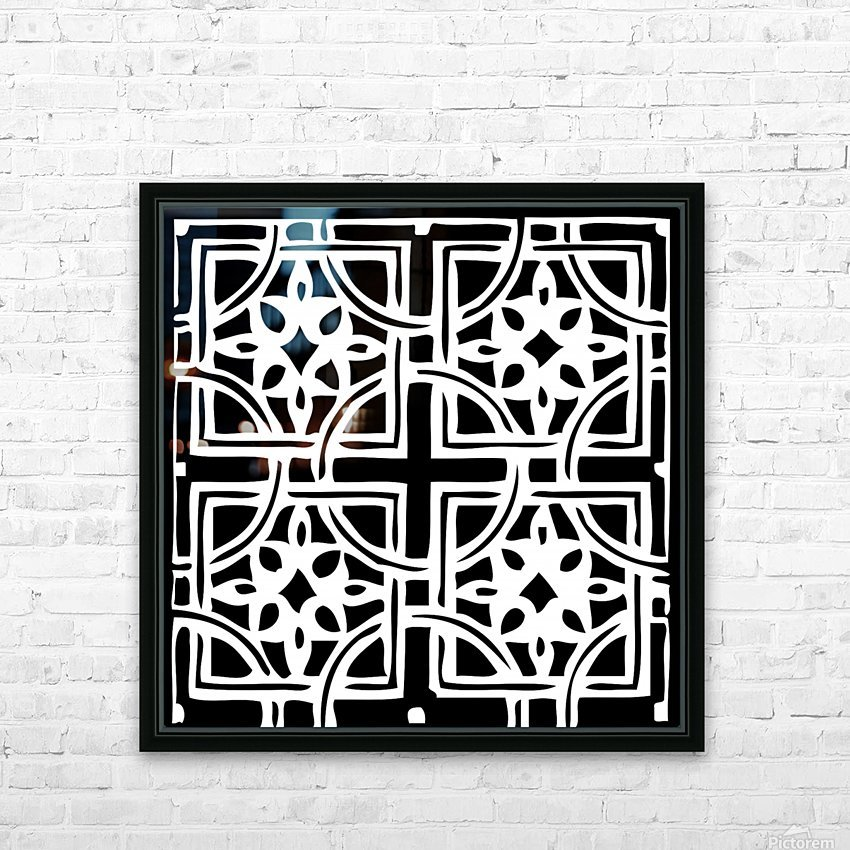 Blackandwhitegeometricgeometrypattern HD Sublimation Metal print with Decorating Float Frame (BOX)