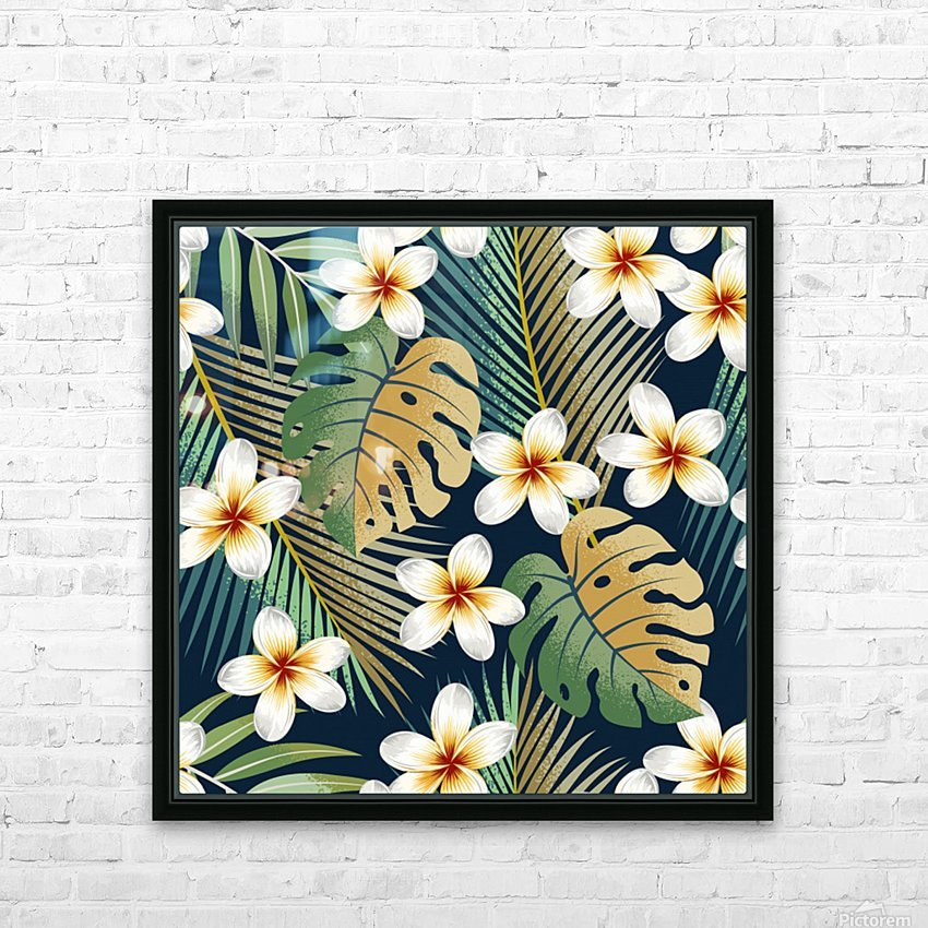 seamless pattern with tropical strelitzia flowers leaves exotic background_ HD Sublimation Metal print with Decorating Float Frame (BOX)