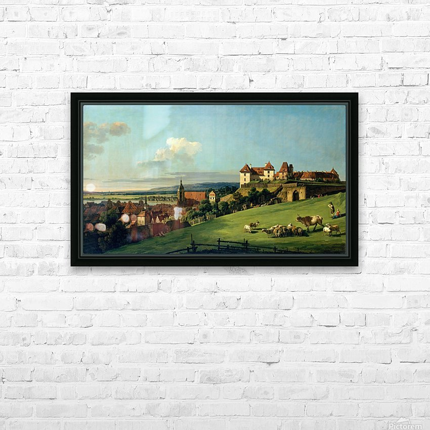 View of Pirna from the Sonnenstein Castle, c. 1750 HD Sublimation Metal print with Decorating Float Frame (BOX)