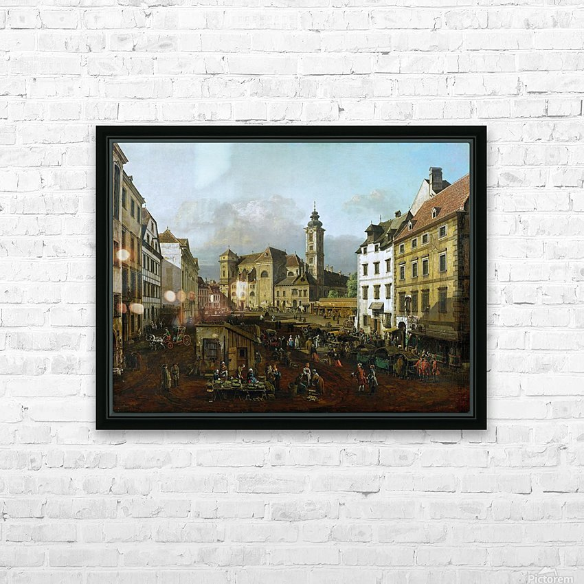 Market outside church HD Sublimation Metal print with Decorating Float Frame (BOX)