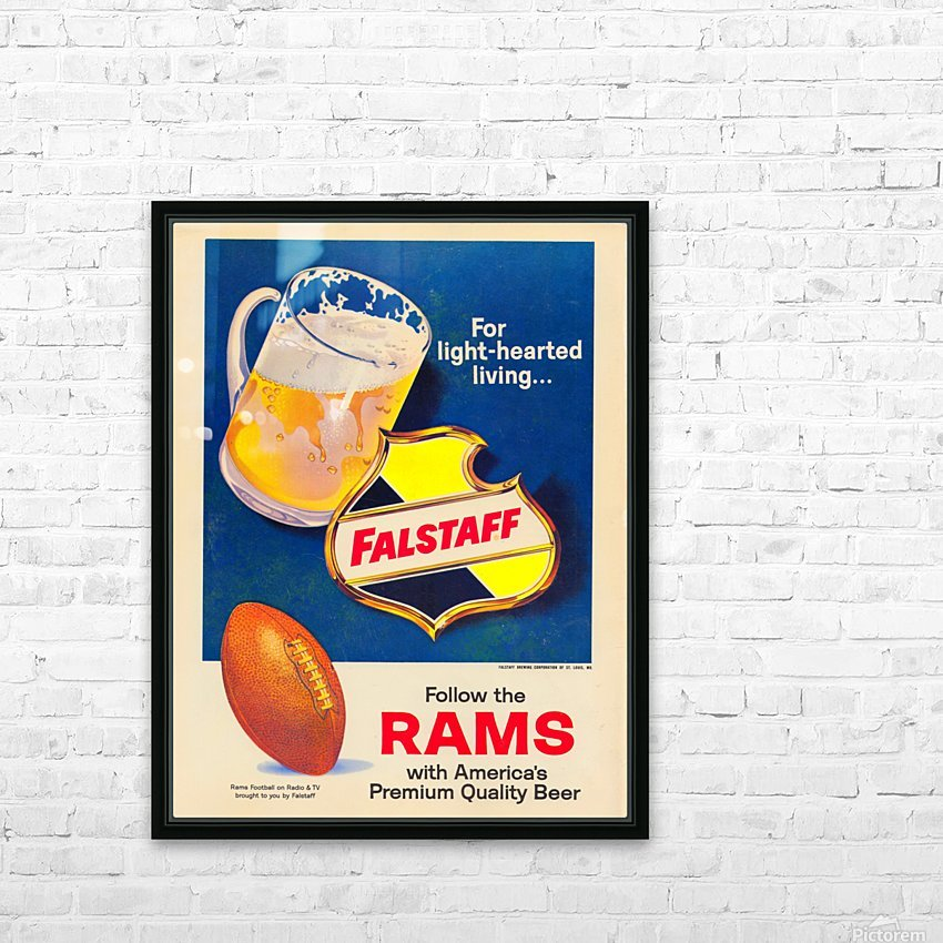 vintage falstaff beer ad poster la rams retro football metal sign HD Sublimation Metal print with Decorating Float Frame (BOX)