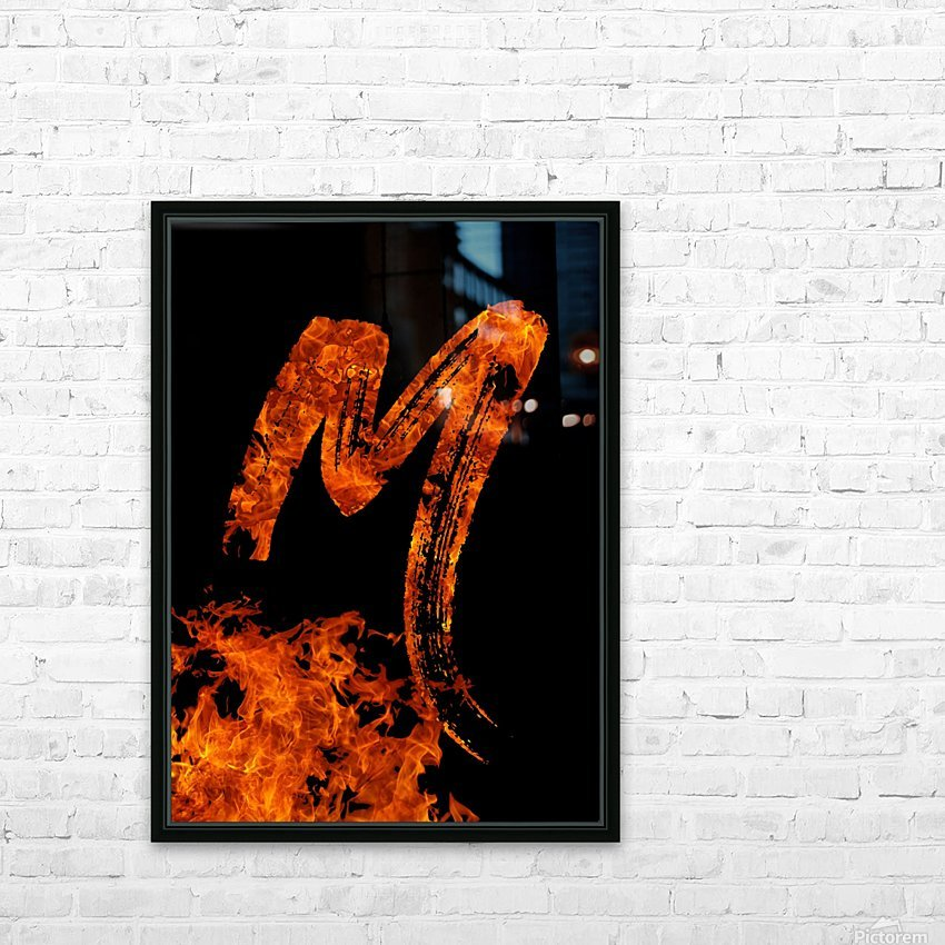 Burning on Fire Letter M HD Sublimation Metal print with Decorating Float Frame (BOX)