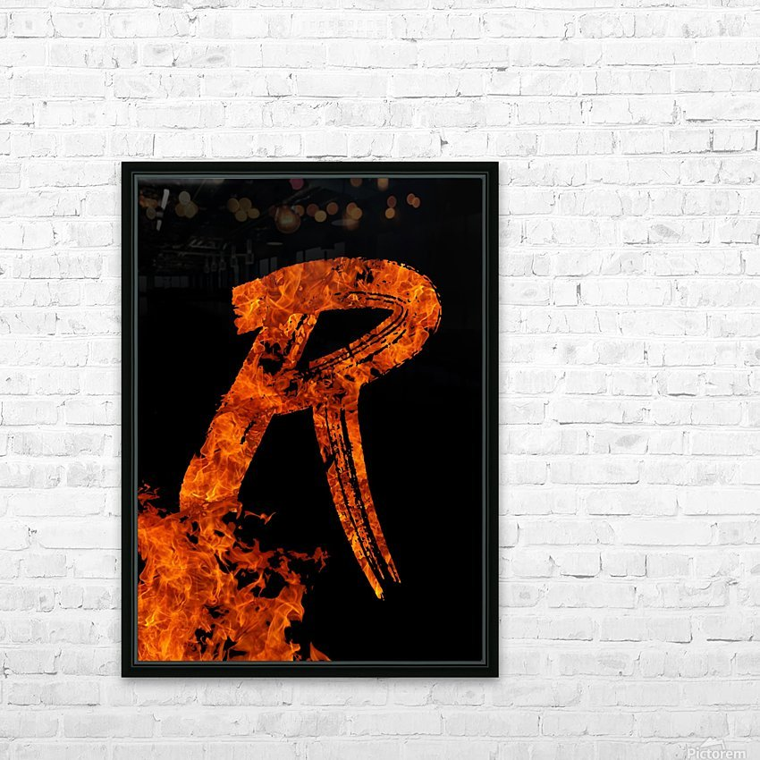 Burning on Fire Letter R HD Sublimation Metal print with Decorating Float Frame (BOX)