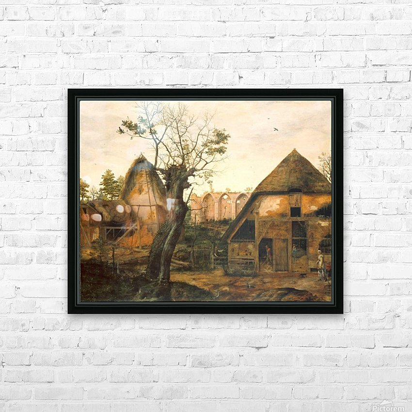 Landscape with Farmhouse HD Sublimation Metal print with Decorating Float Frame (BOX)