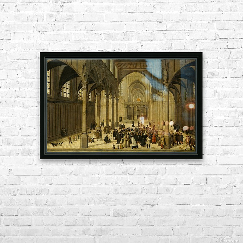 Church interior with Christ preaching to a crowd HD Sublimation Metal print with Decorating Float Frame (BOX)