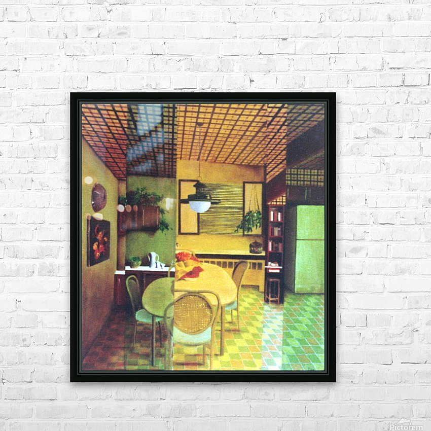 Retro Kitchen HD Sublimation Metal print with Decorating Float Frame (BOX)