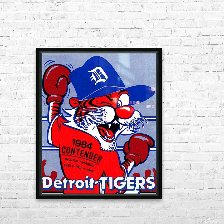 vintage detroit tigers poster retro sports art 1980s posters HD Sublimation Metal print with Decorating Float Frame (BOX)