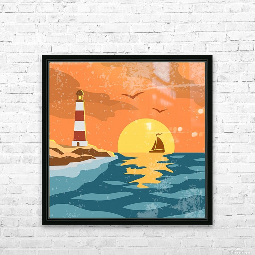 sea retro poster HD Sublimation Metal print with Decorating Float Frame (BOX)