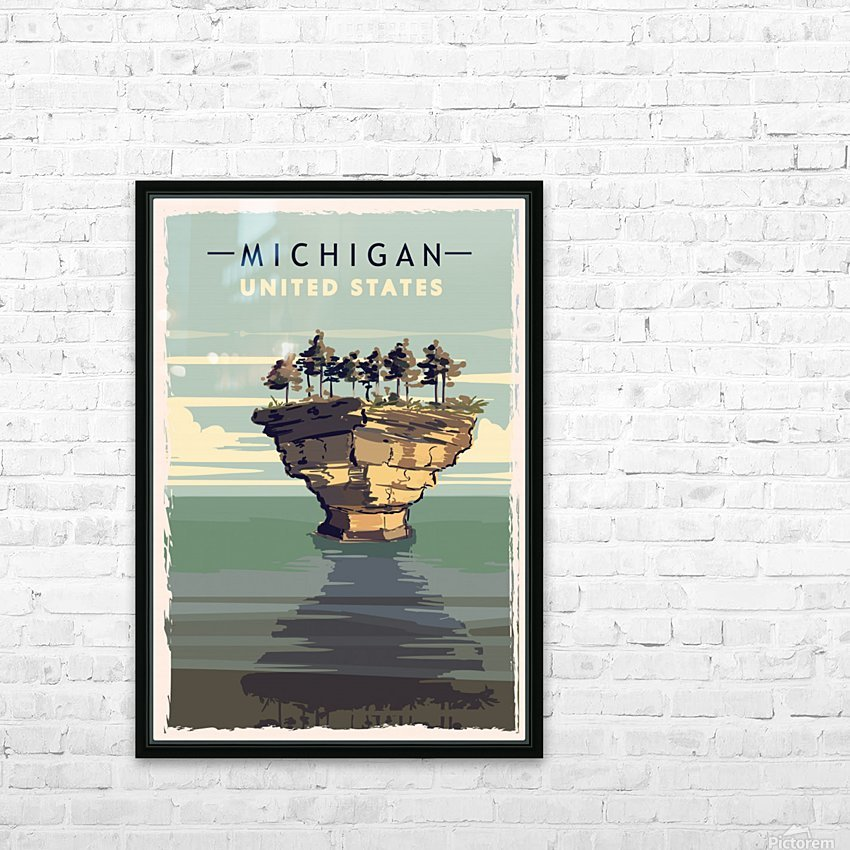 michigan retro poster usa michigan travel illustration united states america HD Sublimation Metal print with Decorating Float Frame (BOX)