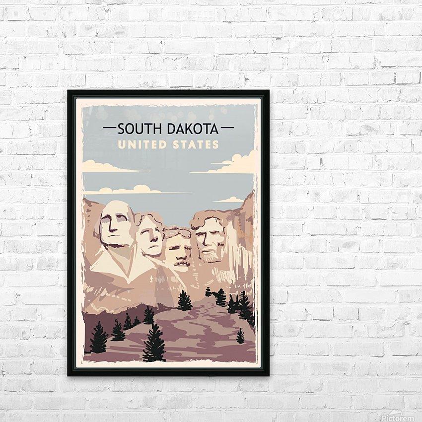 south dakota retro poster usa south dakota travel illustration united states america HD Sublimation Metal print with Decorating Float Frame (BOX)