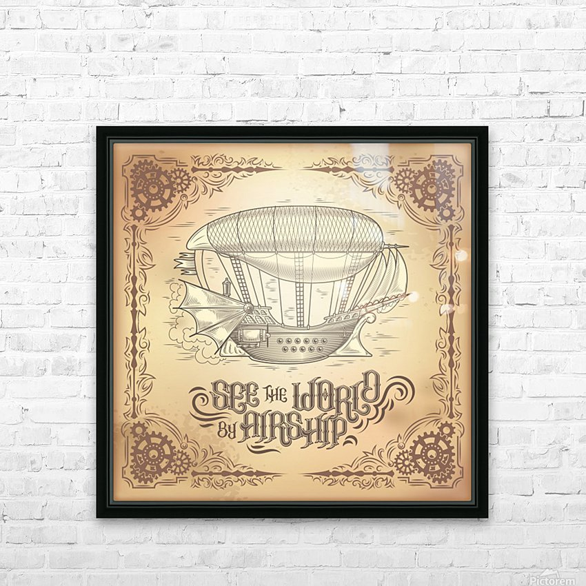 Vector steampunk poster illustration fantastic wooden flying ship HD Sublimation Metal print with Decorating Float Frame (BOX)