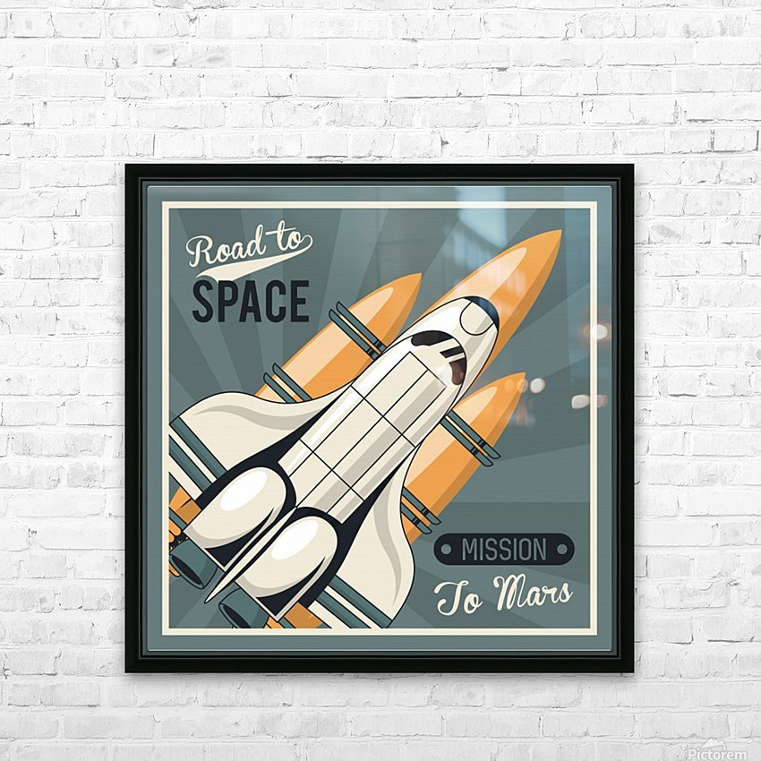 Life space poster with mars rocket rockets vintage HD Sublimation Metal print with Decorating Float Frame (BOX)