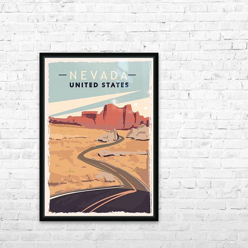 nevada retro poster usa nevada travel illustration united states america HD Sublimation Metal print with Decorating Float Frame (BOX)