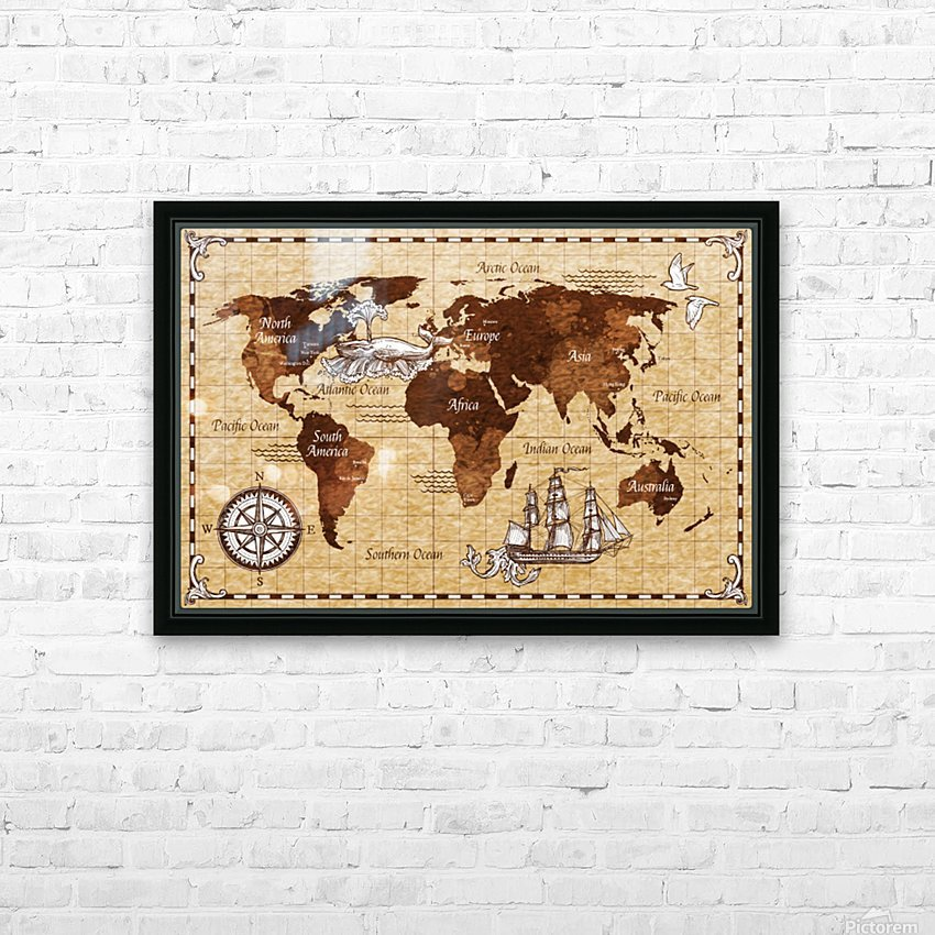 Vintage old classic antique retro map HD Sublimation Metal print with Decorating Float Frame (BOX)