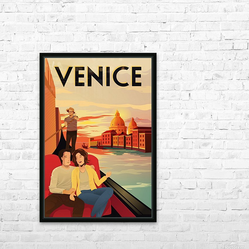 venice travel poster HD Sublimation Metal print with Decorating Float Frame (BOX)
