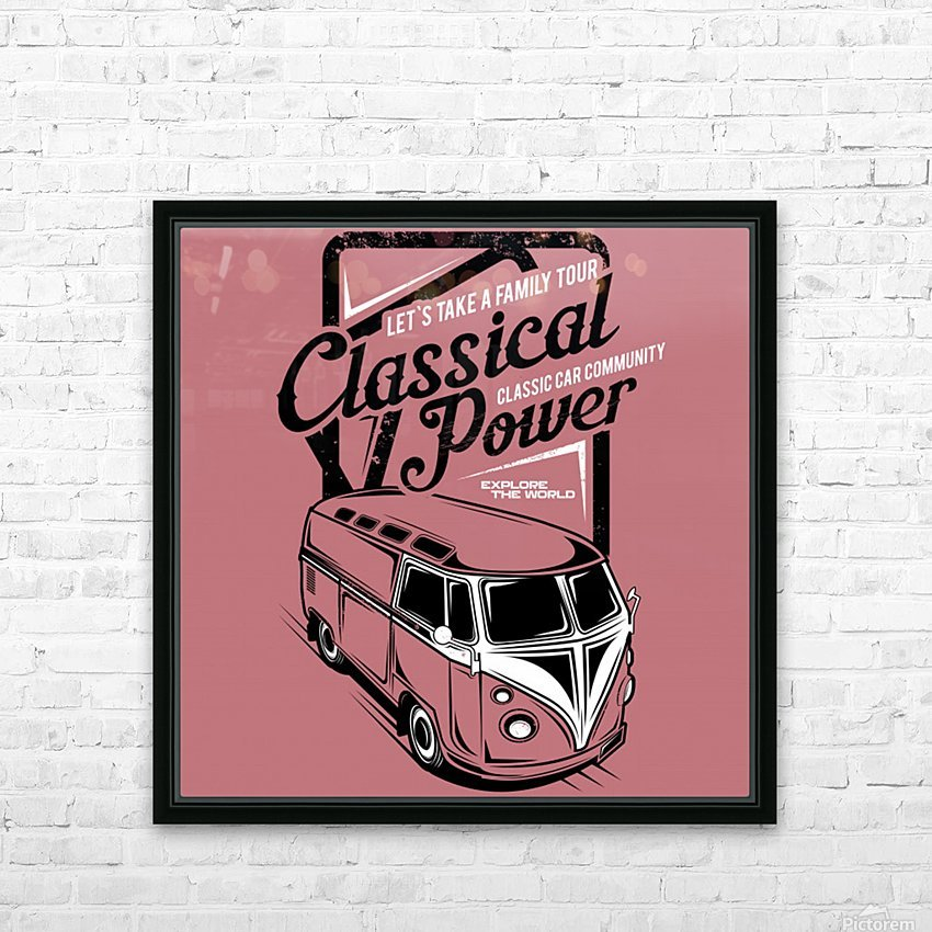 Lets take family tour classical power illustration classic family car HD Sublimation Metal print with Decorating Float Frame (BOX)