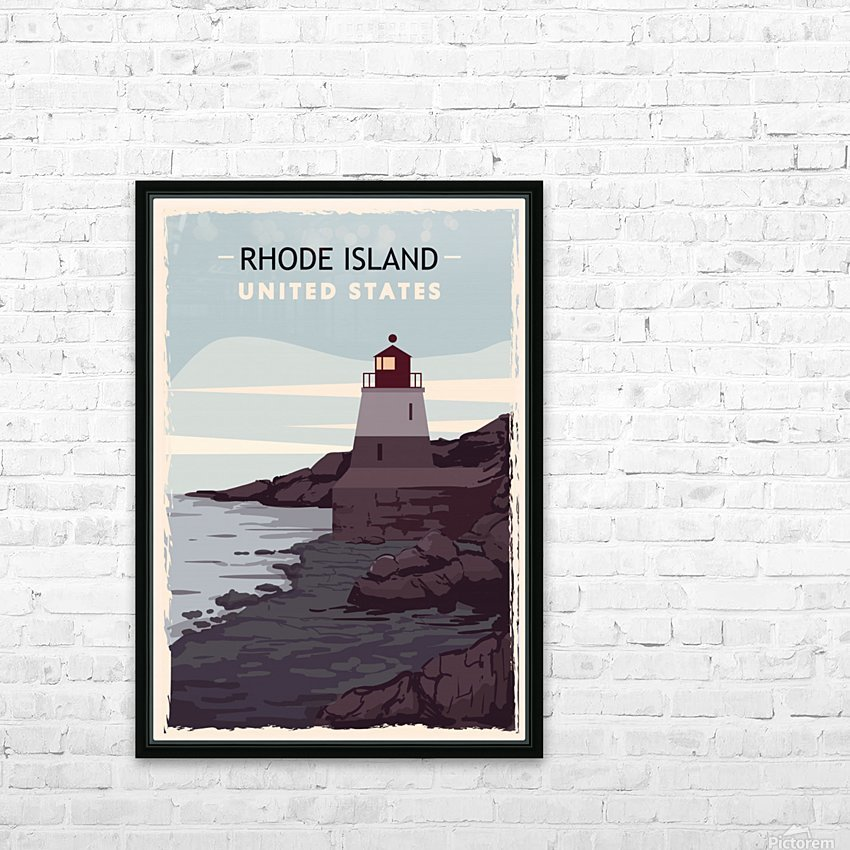 Rhode island retro poster usa rhode island travel illustration united states america HD Sublimation Metal print with Decorating Float Frame (BOX)